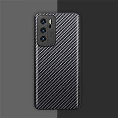 Kohlefaser Hülle Handyhülle Luxus Schutzhülle Flexible Tasche Köper für Huawei P40 Schwarz