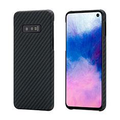 Kohlefaser Hülle Handyhülle Luxus Schutzhülle Flexible Tasche Köper T01 für Samsung Galaxy S10e Schwarz