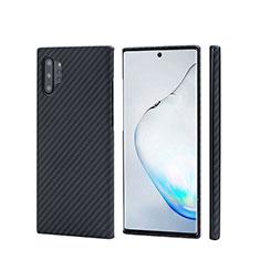 Kohlefaser Hülle Handyhülle Luxus Schutzhülle Tasche Köper C01 für Samsung Galaxy Note 10 Plus Schwarz
