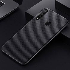 Kohlefaser Hülle Handyhülle Luxus Schutzhülle Tasche Köper T01 für Huawei Honor 20 Lite Schwarz
