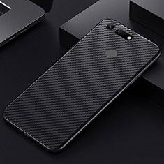 Kohlefaser Hülle Handyhülle Luxus Schutzhülle Tasche Köper T01 für Huawei Honor V20 Schwarz