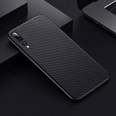 Kohlefaser Hülle Handyhülle Luxus Schutzhülle Tasche Köper T02 für Huawei P20 Pro Schwarz