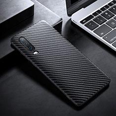 Kohlefaser Hülle Handyhülle Luxus Schutzhülle Tasche Köper T02 für Huawei P30 Schwarz