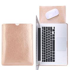 Leder Handy Tasche Sleeve Schutz Hülle L17 für Apple MacBook 12 zoll Gold