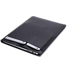Leder Handy Tasche Sleeve Schutz Hülle L20 für Apple MacBook 12 zoll Schwarz