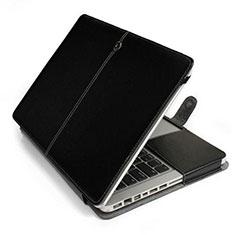Leder Handy Tasche Sleeve Schutz Hülle L24 für Apple MacBook 12 zoll Schwarz