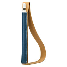 Leder Hülle Schreibzeug Schreibgerät Beutel Halter mit Abnehmbare Gummiband P01 für Apple Pencil Apple iPad Pro 12.9 Blau