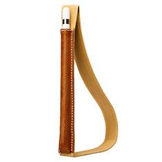 Leder Hülle Schreibzeug Schreibgerät Beutel Halter mit Abnehmbare Gummiband P01 für Apple Pencil Apple New iPad 9.7 (2018) Braun