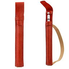 Leder Hülle Schreibzeug Schreibgerät Beutel Halter mit Abnehmbare Gummiband P02 für Apple Pencil Apple iPad Pro 12.9 (2017) Rot
