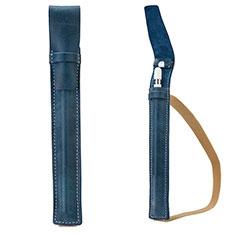 Leder Hülle Schreibzeug Schreibgerät Beutel Halter mit Abnehmbare Gummiband P02 für Apple Pencil Apple iPad Pro 9.7 Blau