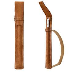 Leder Hülle Schreibzeug Schreibgerät Beutel Halter mit Abnehmbare Gummiband P02 für Apple Pencil Apple New iPad 9.7 (2017) Braun