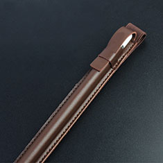 Leder Hülle Schreibzeug Schreibgerät Beutel Halter mit Abnehmbare Gummiband P04 für Apple Pencil Apple iPad Pro 10.5 Braun
