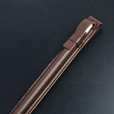 Leder Hülle Schreibzeug Schreibgerät Beutel Halter mit Abnehmbare Gummiband P04 für Apple Pencil Apple iPad Pro 12.9 (2017) Braun