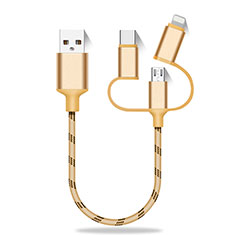 Lightning USB Ladekabel Kabel Android Micro USB Type-C 25cm S01 für Huawei MateBook HZ-W09 Gold