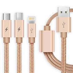 Lightning USB Ladekabel Kabel Android Micro USB Type-C ML03 für Apple iPhone 11 Pro Gold