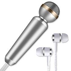 Mini-Stereo-Mikrofon Mic 3.5 mm Klinkenbuchse M02 für Oneplus 7 Silber
