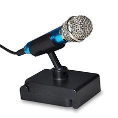 Mini-Stereo-Mikrofon Mic 3.5 mm Klinkenbuchse Mit Stand Blau