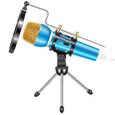 Mini-Stereo-Mikrofon Mic 3.5 mm Klinkenbuchse Mit Stand M03 für Oneplus 7 Blau