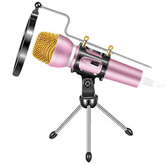 Mini-Stereo-Mikrofon Mic 3.5 mm Klinkenbuchse Mit Stand M03 Rosa