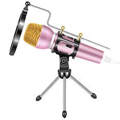 Mini-Stereo-Mikrofon Mic 3.5 mm Klinkenbuchse Mit Stand M03 für Oneplus 7 Rosa