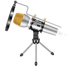 Mini-Stereo-Mikrofon Mic 3.5 mm Klinkenbuchse Mit Stand M03 für Oneplus 7 Silber