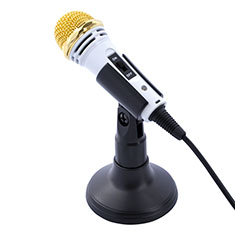 Mini-Stereo-Mikrofon Mic 3.5 mm Klinkenbuchse Mit Stand M07 Weiß
