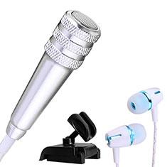 Mini-Stereo-Mikrofon Mic 3.5 mm Klinkenbuchse Mit Stand M08 für Oneplus 7 Silber