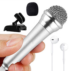 Mini-Stereo-Mikrofon Mic 3.5 mm Klinkenbuchse Mit Stand M12 für Xiaomi Redmi Note 5 Pro Silber