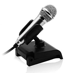Mini-Stereo-Mikrofon Mic 3.5 mm Klinkenbuchse Mit Stand für Xiaomi Redmi Note 5 Pro Silber