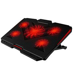NoteBook Halter Halterung Kühler Cooler Kühlpad Lüfter Laptop Ständer 9 Zoll bis 17 Zoll Universal L02 für Apple MacBook 12 zoll Schwarz