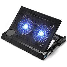 NoteBook Halter Halterung Kühler Cooler Kühlpad Lüfter Laptop Ständer 9 Zoll bis 17 Zoll Universal L06 für Apple MacBook Air 11 zoll Schwarz
