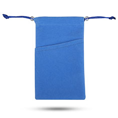 Samtbeutel Säckchen Samt Handy Tasche Universal für Huawei Y9a Blau