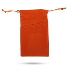 Samtbeutel Säckchen Schmuckbeutel Schwarz Universal für Huawei Y9a Orange