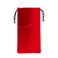 Schmuckbeutel Schwarz Samtbeutel Geschenktasche Universal K02 für Huawei Y9a Rot