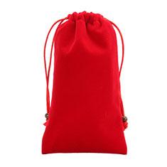 Schmuckbeutel Schwarz Samtbeutel Geschenktasche Universal für Huawei Y9a Rot