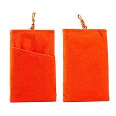 Schmuckbeutel Schwarz Samtbeutel Säckchen Universal für Huawei Y9a Orange