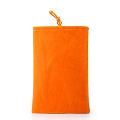 Schmuckbeutel Schwarz Samtbeutel Samtsäckchen Universal für Huawei Y9a Orange