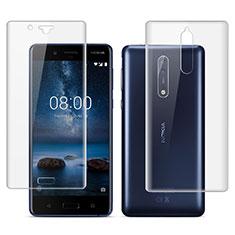 Schutzfolie Displayschutzfolie Panzerfolie Skins zum Aufkleben Vorder und Rückseite für Nokia 8 Klar
