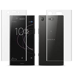 Schutzfolie Displayschutzfolie Panzerfolie Skins zum Aufkleben Vorder und Rückseite für Sony Xperia XZ1 Compact Klar