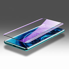 Schutzfolie Full Coverage Displayschutzfolie Panzerfolie Gehärtetes Glas Glasfolie Anti Blue Ray Skins zum Aufkleben Panzerglas F02 für Oppo Find X2 Pro Schwarz