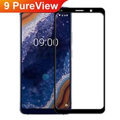 Schutzfolie Full Coverage Displayschutzfolie Panzerfolie Gehärtetes Glas Glasfolie Skins zum Aufkleben Panzerglas F02 für Nokia 9 PureView Schwarz