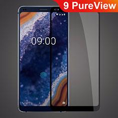 Schutzfolie Full Coverage Displayschutzfolie Panzerfolie Gehärtetes Glas Glasfolie Skins zum Aufkleben Panzerglas für Nokia 9 PureView Schwarz