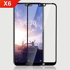Schutzfolie Full Coverage Displayschutzfolie Panzerfolie Gehärtetes Glas Glasfolie Skins zum Aufkleben Panzerglas für Nokia X6 Schwarz