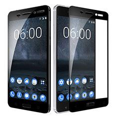 Schutzfolie Full Coverage Displayschutzfolie Panzerfolie Skins zum Aufkleben Gehärtetes Glas Glasfolie F02 für Nokia 6 Schwarz