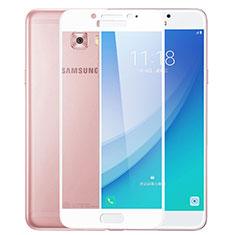 Schutzfolie Full Coverage Displayschutzfolie Panzerfolie Skins zum Aufkleben Gehärtetes Glas Glasfolie F02 für Samsung Galaxy C7 Pro C7010 Weiß
