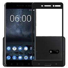 Schutzfolie Full Coverage Displayschutzfolie Panzerfolie Skins zum Aufkleben Gehärtetes Glas Glasfolie F03 für Nokia 6 Schwarz
