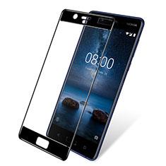 Schutzfolie Full Coverage Displayschutzfolie Panzerfolie Skins zum Aufkleben Gehärtetes Glas Glasfolie F03 für Nokia 8 Schwarz