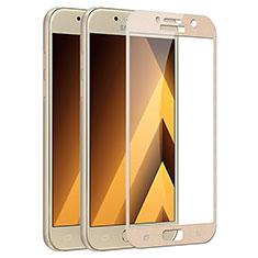 Schutzfolie Full Coverage Displayschutzfolie Panzerfolie Skins zum Aufkleben Gehärtetes Glas Glasfolie F03 für Samsung Galaxy A3 (2017) SM-A320F Gold