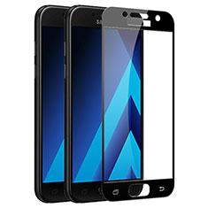 Schutzfolie Full Coverage Displayschutzfolie Panzerfolie Skins zum Aufkleben Gehärtetes Glas Glasfolie F03 für Samsung Galaxy A3 (2017) SM-A320F Schwarz