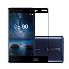 Schutzfolie Full Coverage Displayschutzfolie Panzerfolie Skins zum Aufkleben Gehärtetes Glas Glasfolie für Nokia 8 Schwarz